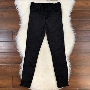 J Brand Black Alana High Rise Cropped Skinny Jeans